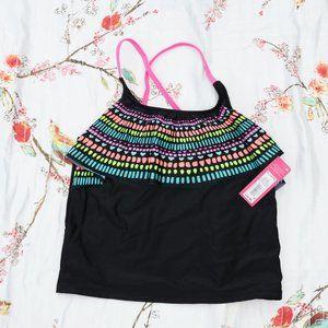 Xhilaration Swim Top Girls XL (14/16) Black NWT